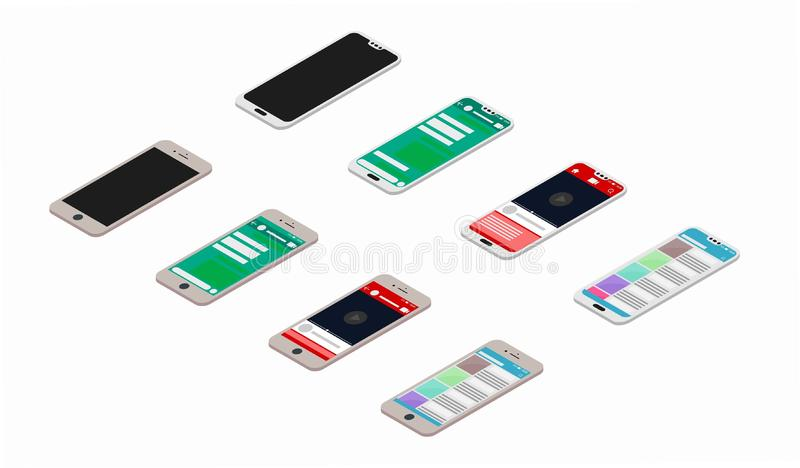 Vector Smartphone Screens. Collection of 8 vector illustrations of smartphones. Two different types of smartphones and 4 different types of screens stock illustration