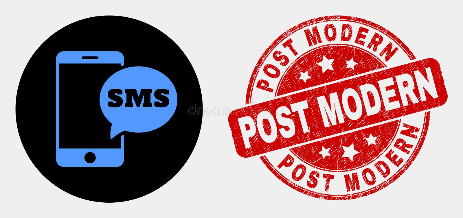Vector Smartphone SMS Icon and Grunge Post Modern Seal royalty free illustration