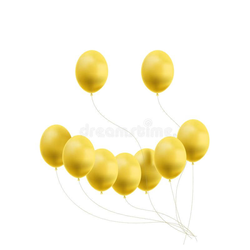Vector Smiley Face Meda of Bright Yellow Balloons, Funny Background, Creative Happiness Icon Isolated. royalty free illustration