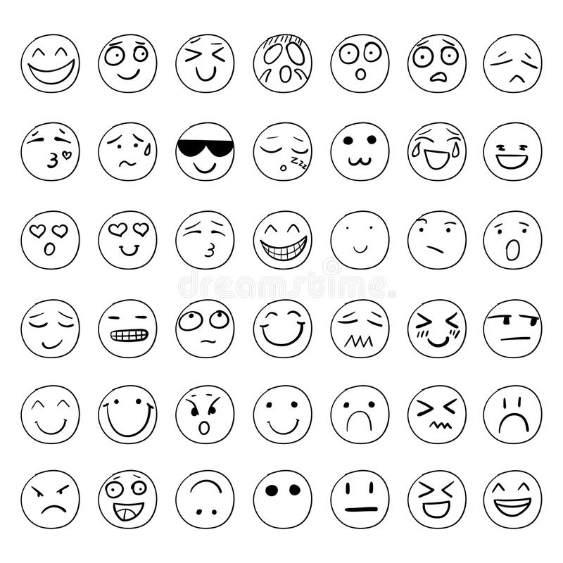 Vector Smiley Faces Set dibujado mano, dibujos de esquema negros aislados ilustración del vector
