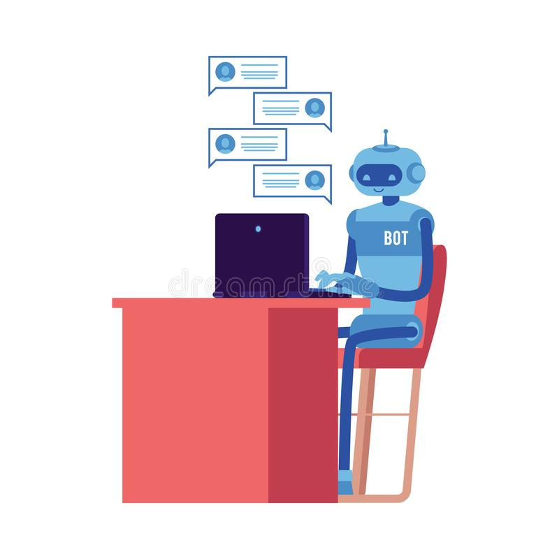 Vector smiling chat bot at workplace behind laptop stock illustration