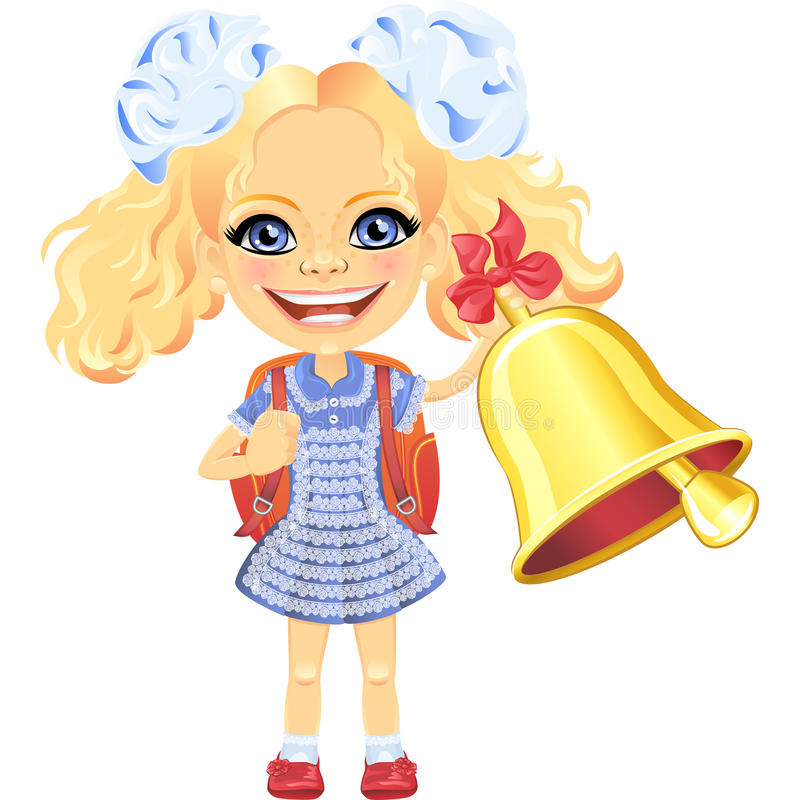 Vector smiling cute schoolgirl with bell royalty free stock images