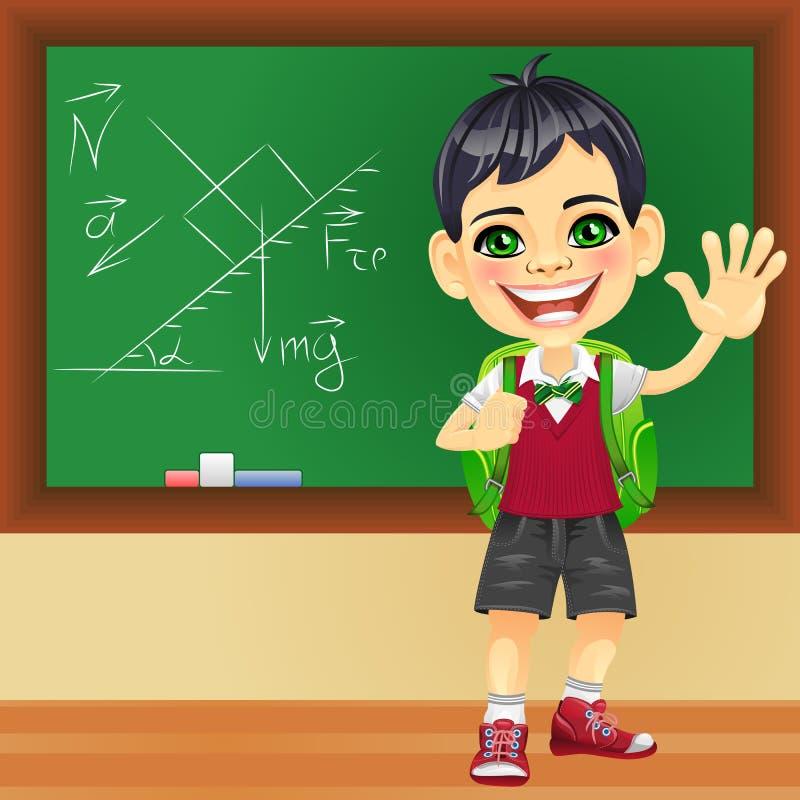 Vector smiling schoolboy near blackboard stock photo