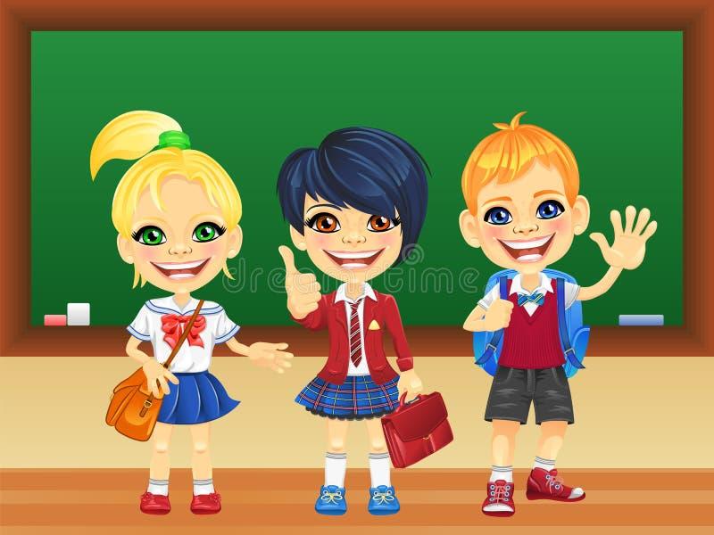 Vector smiling schoolchildren near blackboard stock photography