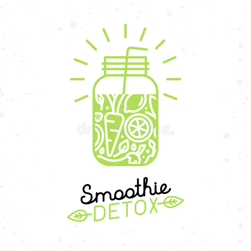 Vector smoothie detox poster in trendy linear flat style. Glass with fruit juice for detox and healthy lifestyle royalty free illustration