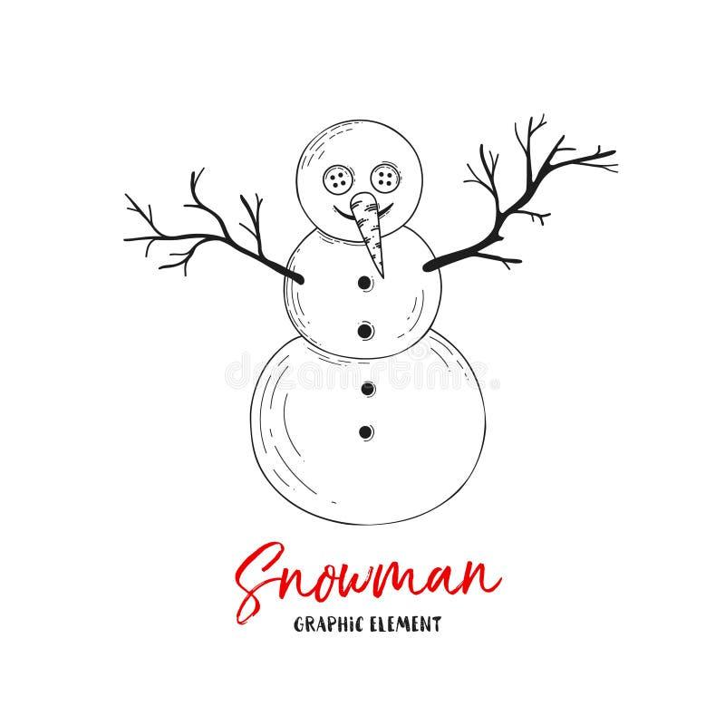 Vector sneeuwman Illustratie voor groetkaarten, uitnodigingen, en andere drukprojecten stock illustratie