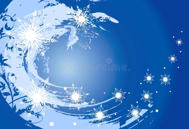 Vector sneeuwvlokken (grunge achtergrond) royalty-vrije illustratie