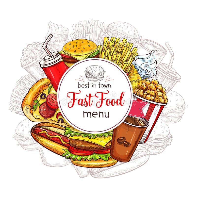Vector snel voedselmenu voor fastfood restaurant vector illustratie