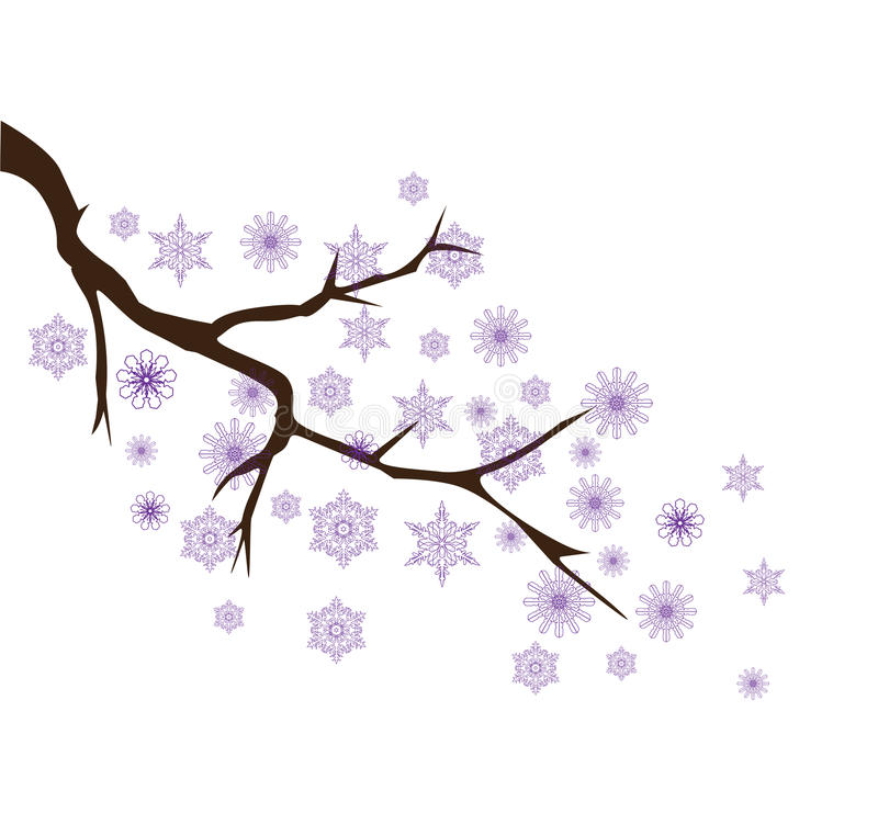 Vector snow branch. Vector illustration of a tree branch with snowflakes royalty free illustration