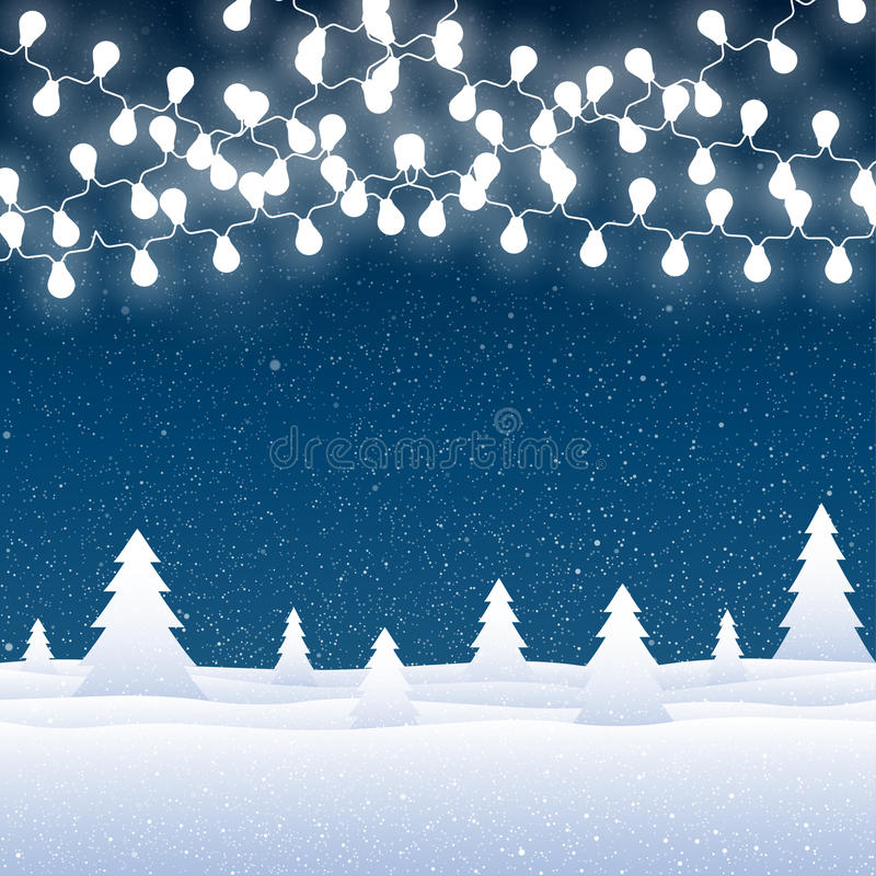 Vector snow falling on blue background. Garlands. Vector white snow falling on blue background. Garlands on a background of falling snow stock illustration