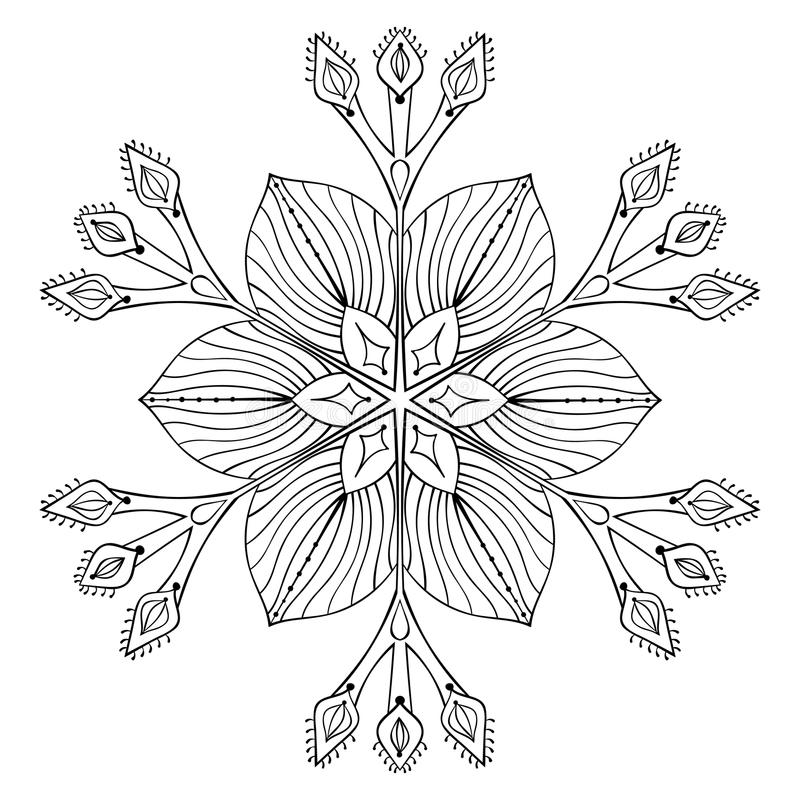 Zentangle Elegant Snow Flake Mandala For Adult Coloring Pages Stock Vector Illustration Of Fabric Hand 81911928