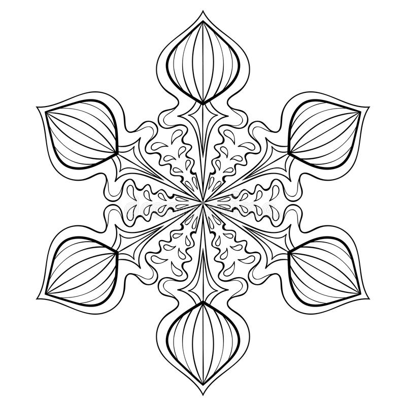 Vector Snow Flake In Zentangle Style, Doodle Mandala For ...
