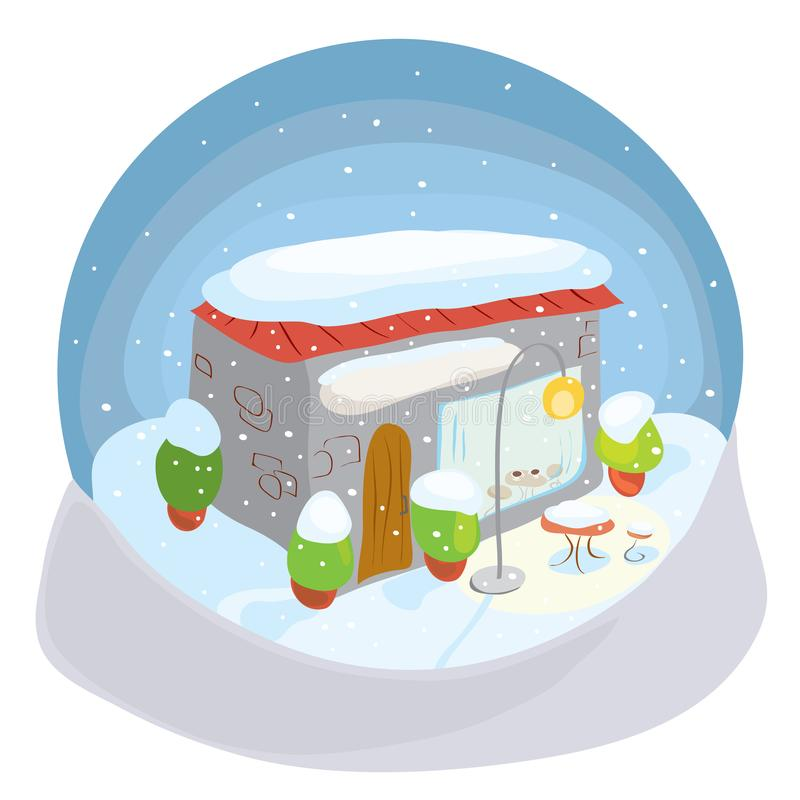 Vector snow globe with a cozy cafe in the winter / memories of pleasant coffee pauses stock illustration