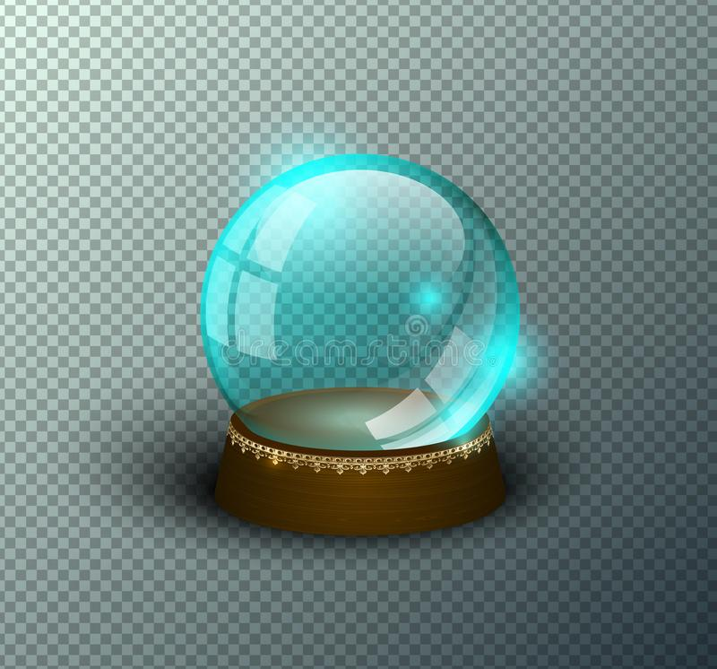 Vector snow globe empty template isolated transparent background. Christmas magic ball. Blue glass ball dome, wooden stand. Vector snow globe empty template royalty free illustration