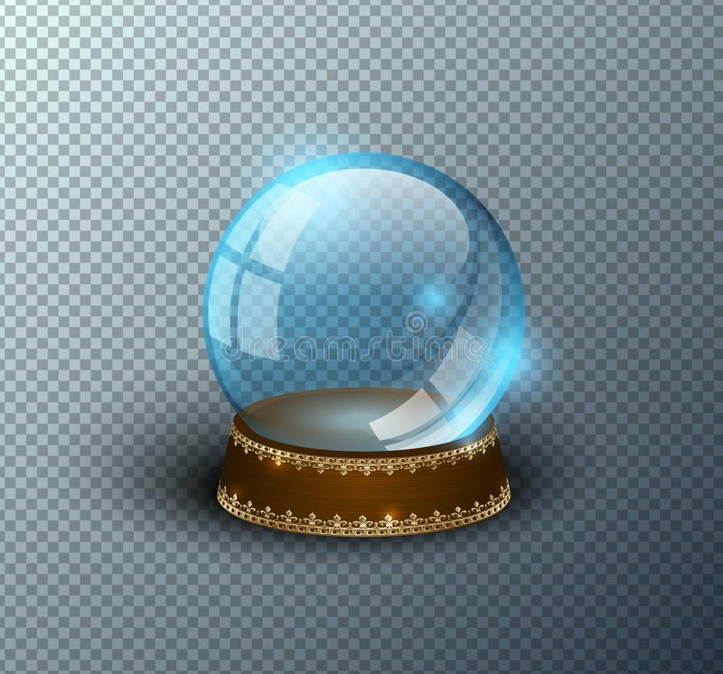 Vector snow globe empty template isolated transparent background. Christmas magic ball. Blue glass ball dome, wooden stand. With golden crown decor. Winter vector illustration