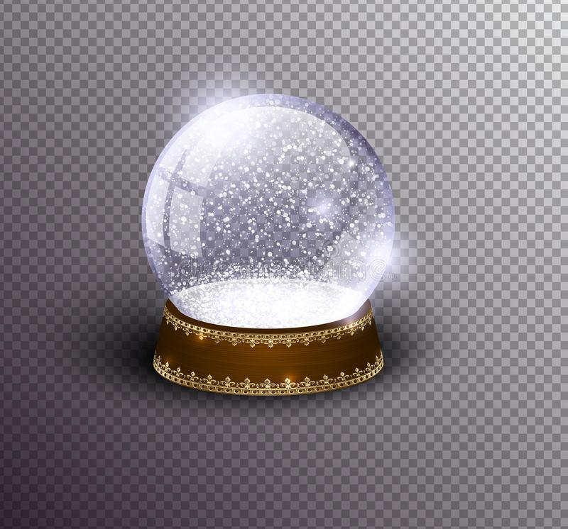 Vector snow globe empty template isolated on transparent background. Christmas magic ball. Glass ball dome, wooden stand. With silver crown decor. Winter stock illustration