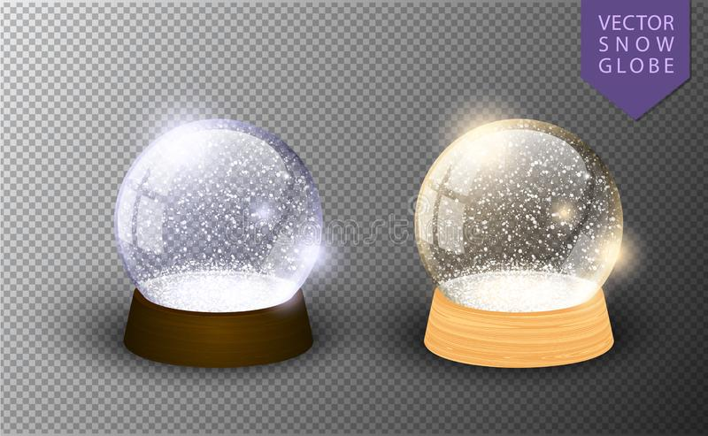 Vector snow globe empty template isolated on transparent background. Christmas magic ball. Glass ball dome, wooden stand. Realistic traditional winter holiday stock illustration