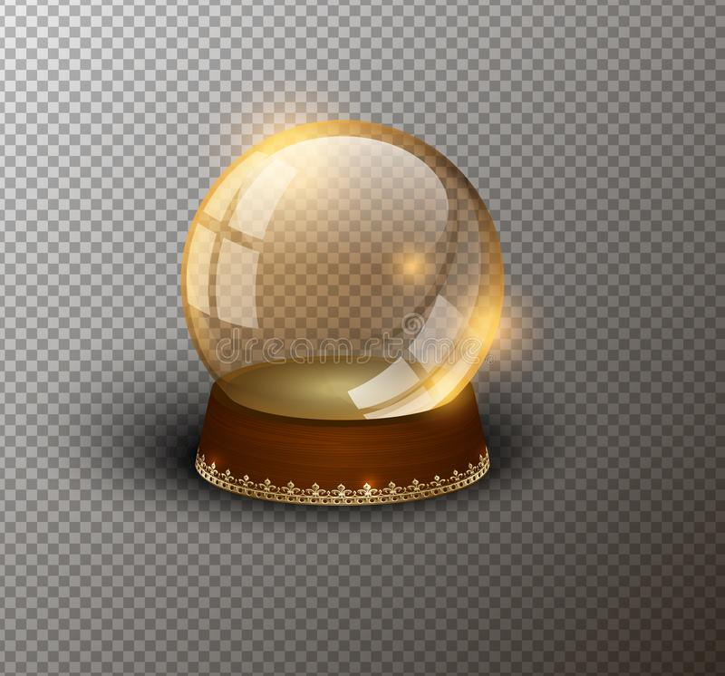 Vector snow globe empty template isolated transparent background. Christmas magic ball. Yellow glass ball dome, wooden stand. Golden crown decor. Winter holiday royalty free illustration