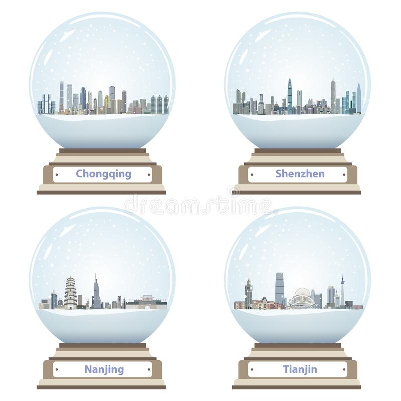 Vector snow globes with abstract chinese city skylines inside. Isolated on white stock illustration