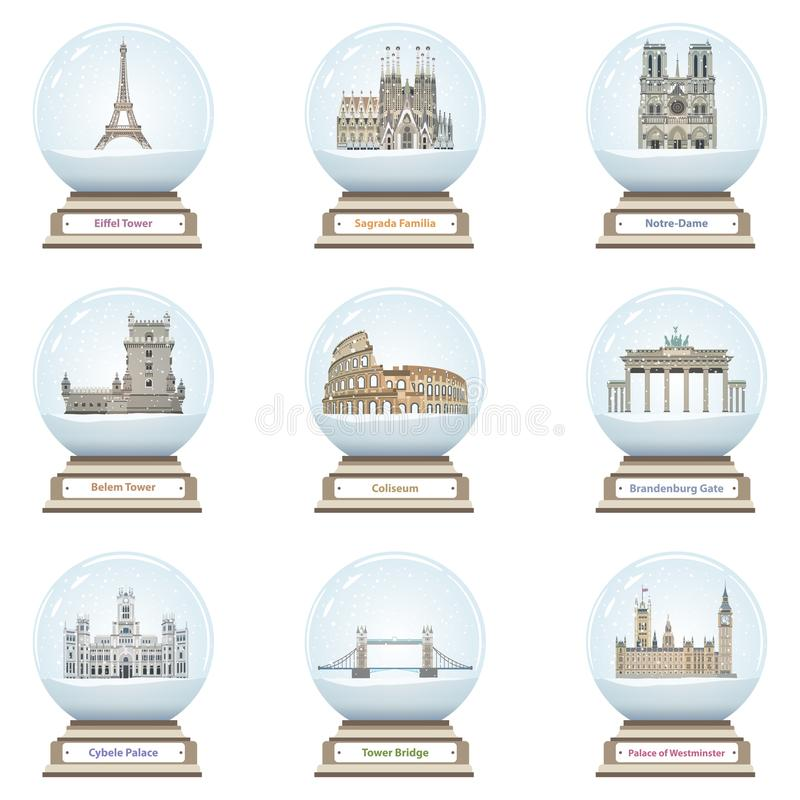 Vector snow globes with european landmarks icons inside. On white royalty free illustration