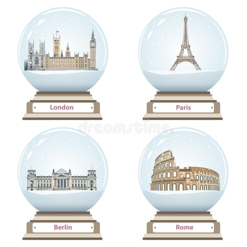 Vector snow globes with London, Paris, Berlin and Rome landmarks inside. Isolated on white stock illustration