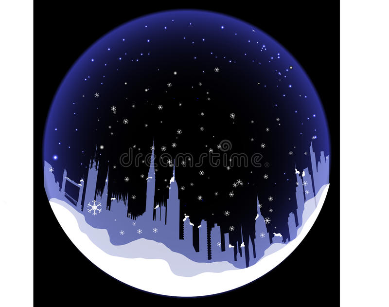 Vector Snowball with London silhouette stock illustration