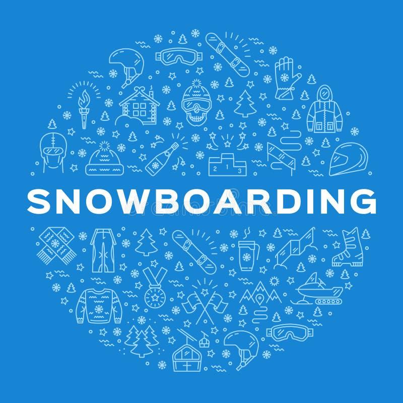 Vector Snowboarding Icon, Snowboard Winter Collection. Sport line art infographics. Vector Snowboarding Icon, Snowboard Winter Collection. Outline logo, Minimal vector illustration
