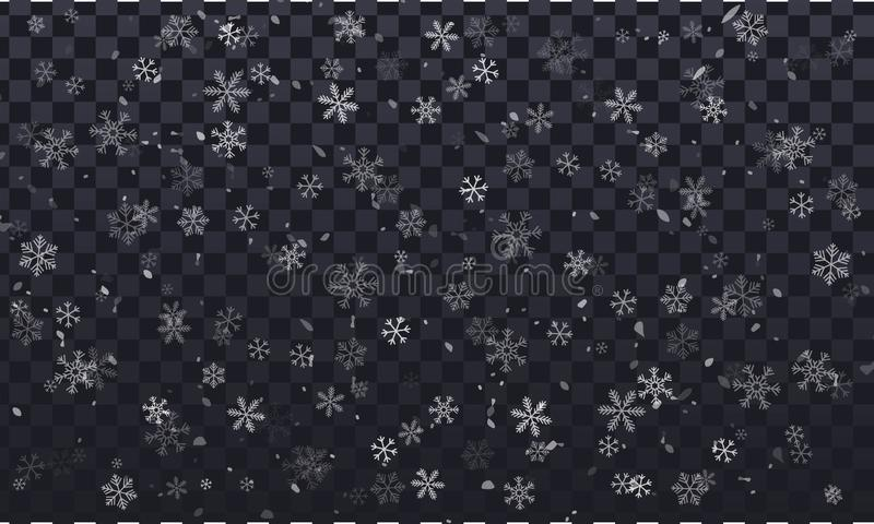 Vector snowflakes on transparent background, transparent, with snow flakes royalty free illustration