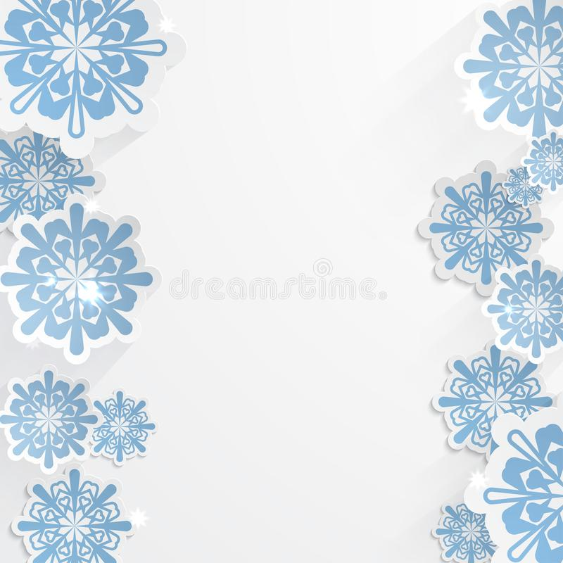 Vector snowflakes for winter background design or christmas greeting card, paper cut out art style royalty free illustration