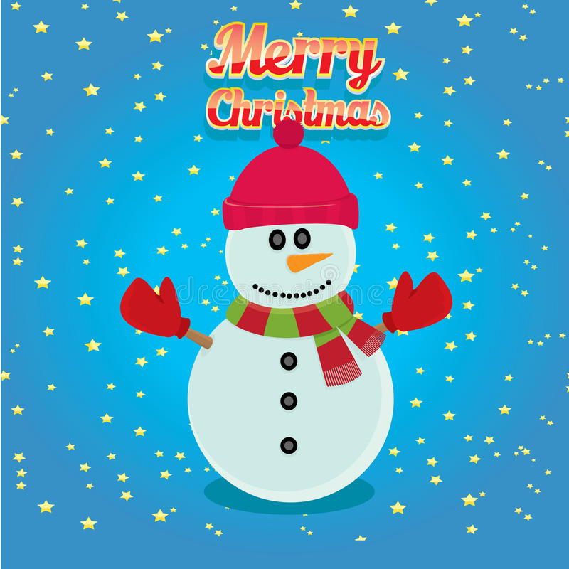 Vector snowman on blue sky background with stars. Vector cartoon snowman. merry christmas card background royalty free illustration
