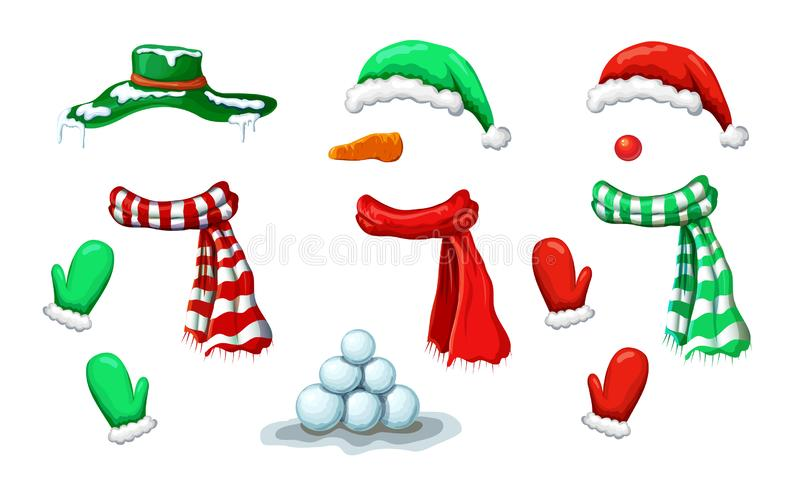 Vector snowman face mask collection with accessory isolated on white. xmas holiday funny costume of snowman with various hats,. Scarves, mittens. Christmas vector illustration