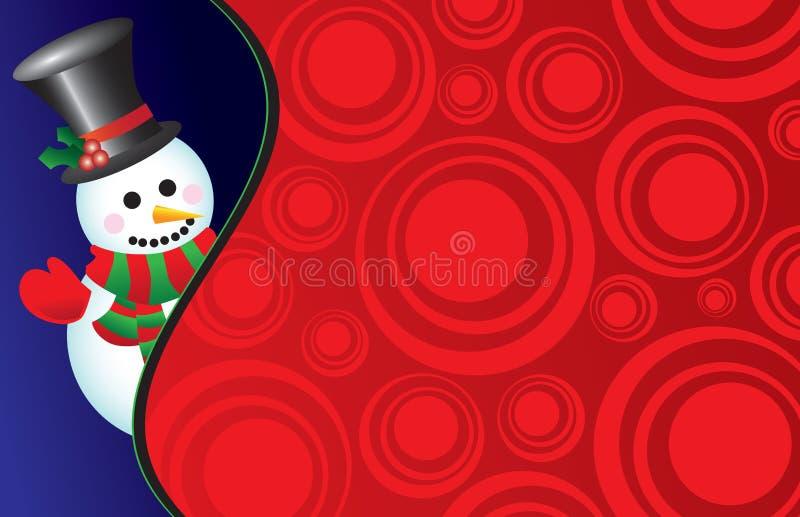 Vector snowman on a retro background royalty free stock photos