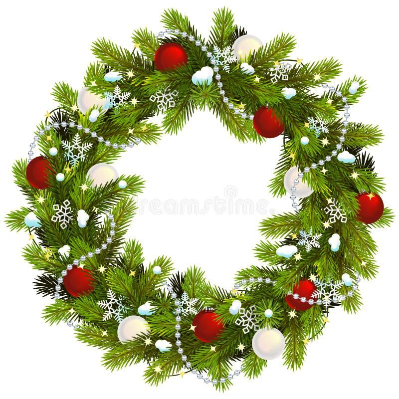 Vector Snowy Christmas Fir Wreath stock image