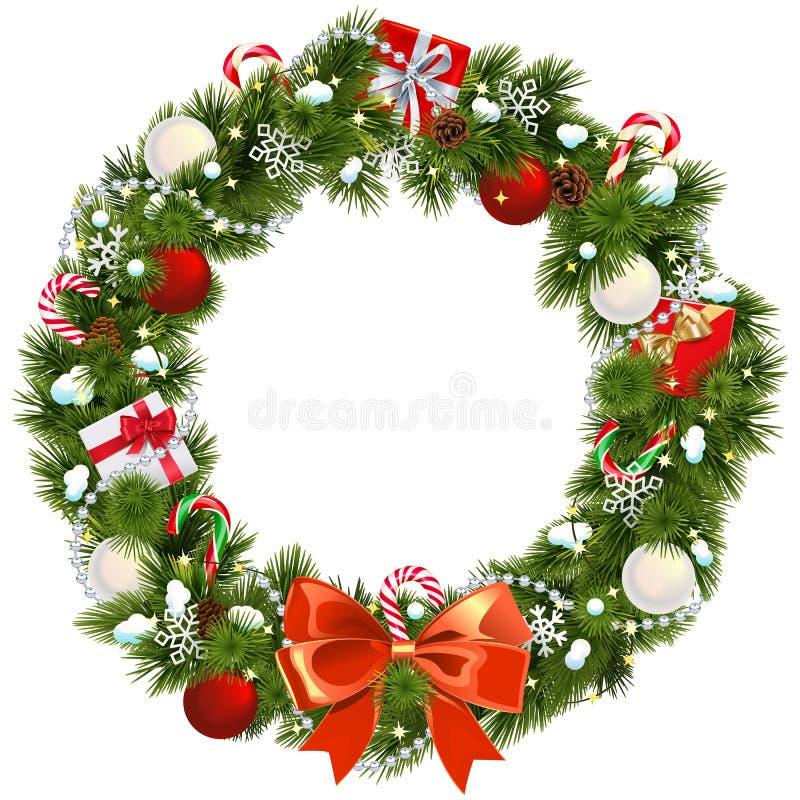 Vector Snowy Christmas Wreath royalty free stock photography