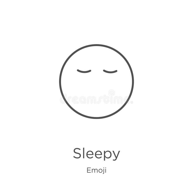 vector soñoliento del icono de la colección del emoji Línea fina ejemplo soñoliento del vector del icono del esquema Esquema, lín libre illustration