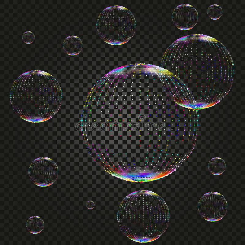 Vector soap water bubbles on dark backdrop, transparent realistic design elements on checkered background royalty free illustration