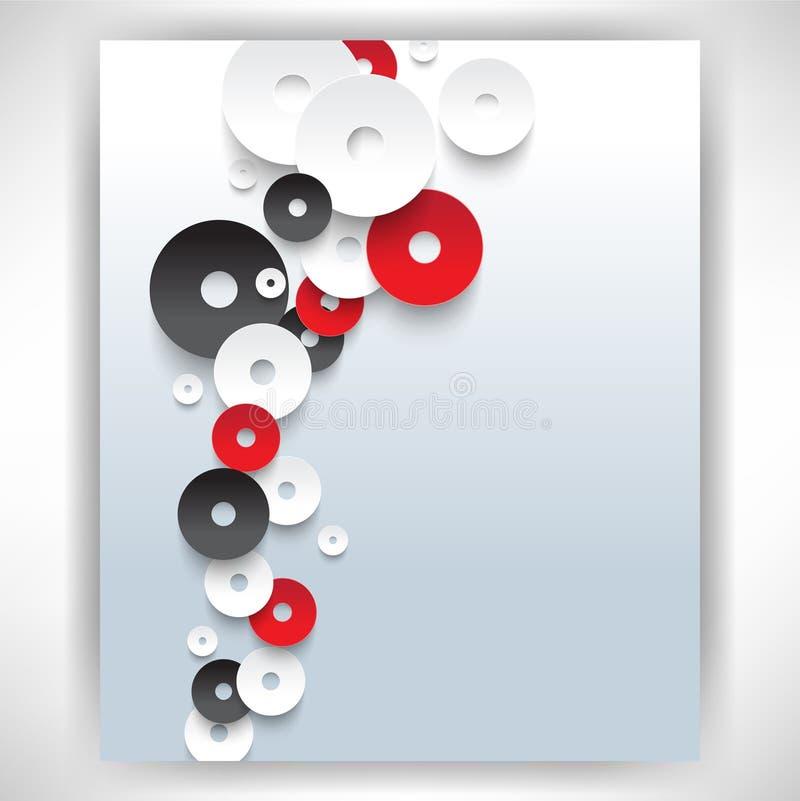 Vector a sobreposição do fundo branco e vermelho do conceito dos discos ilustração royalty free