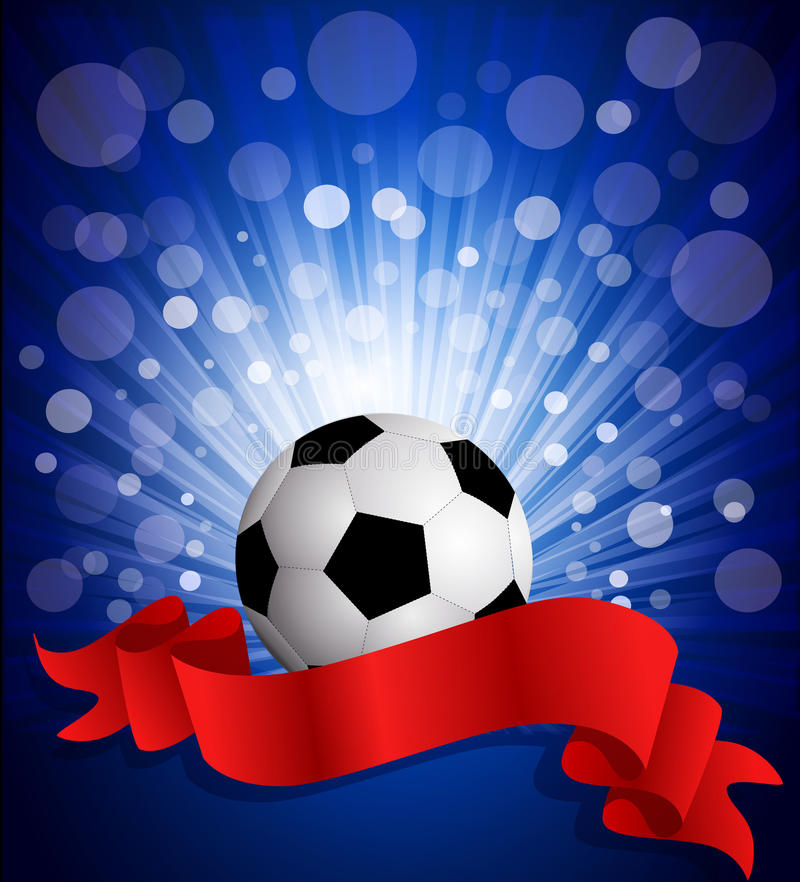 Vector soccer ball on a blue background. With a red celebration ribbon stock illustration