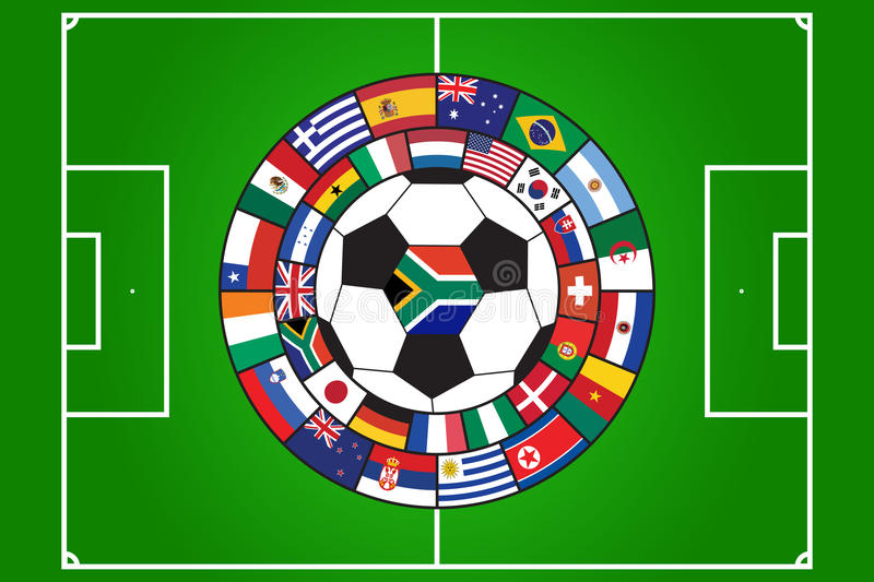 Vector of soccer ball and field with flags. Soccer ball and field with flags of all qualifiers of WC 2010 in South Africa vector illustration