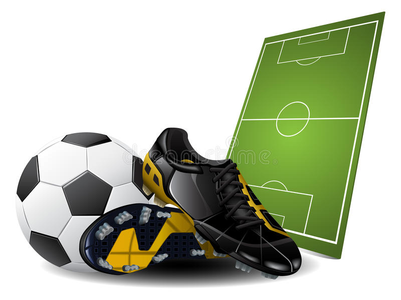 Vector soccer boots and ball stock illustration