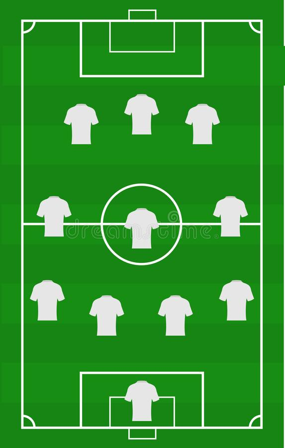 Vector Soccer Field With The Arrangement Of Players In The Game ...