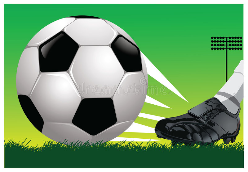 Vector soccer kick. Soccer kick to ball. Additional vector format Eps8 (very easy editable separate layers vector illustration