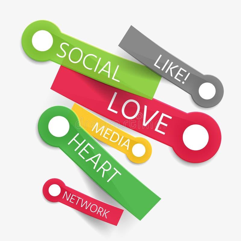 Vector sociaal als markeringswolk van stickers stock illustratie