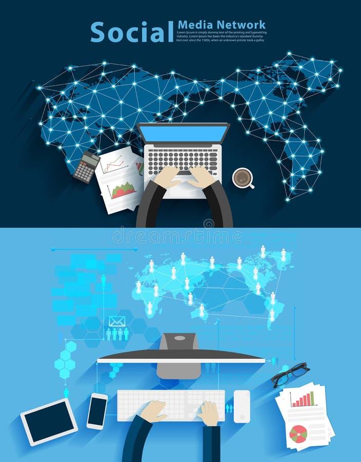 Vector sociaal media netwerk met de bedrijfsmens die aan computer werkt stock illustratie
