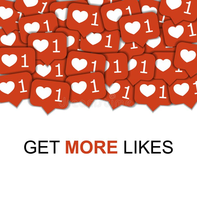 Vector social de los iconos de los medios en el fondo abstracto con los corazones, contenido de comercialización de la forma vira ilustración del vector