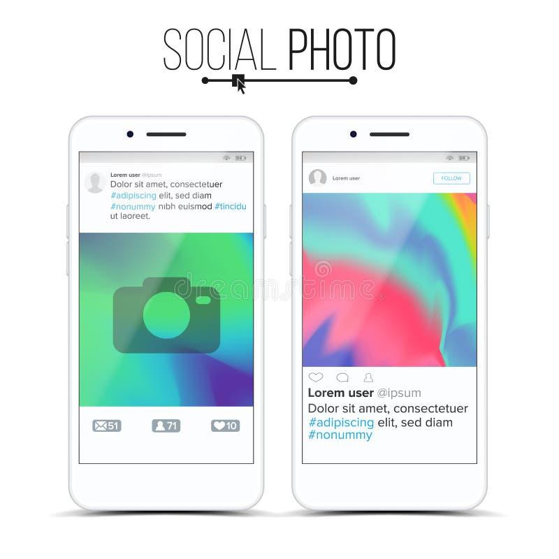 Vector social del marco de la foto de la red Concepto moderno del uso Diseño de interfaz móvil del App Realista aislado libre illustration