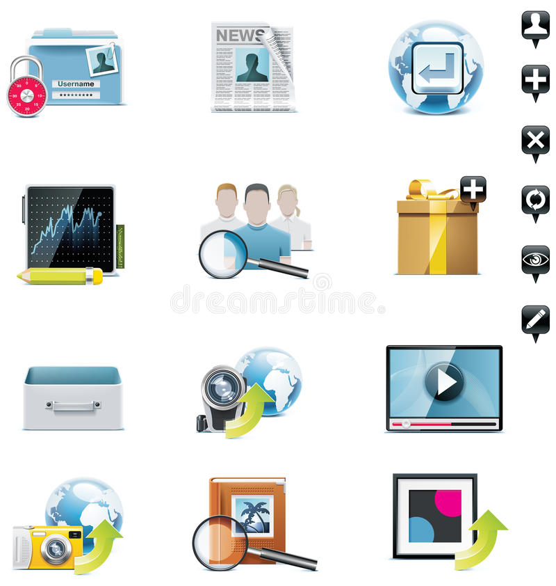 Vector social media icon set. Social networking related icons for homepage, blog or print stock illustration