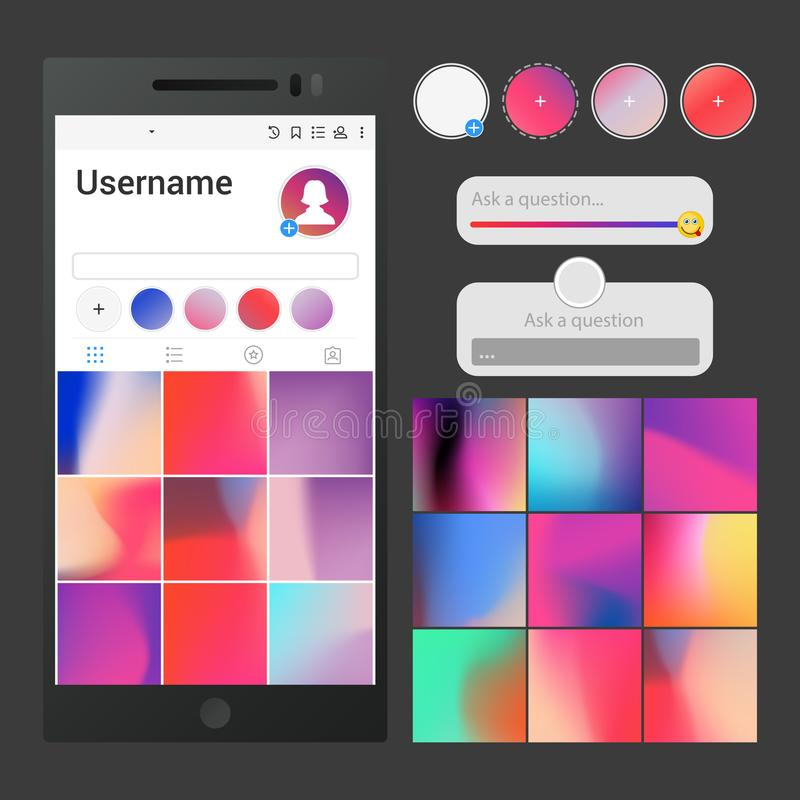 Vector social media interface. Post backgrounds, slider, question area and stories buttons templates for application - stock illustration