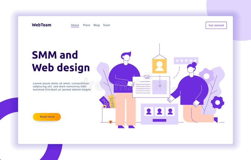 Vector social media and website creation process design concept with big man and woman holding web elements royalty free illustration