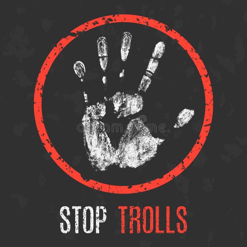 Vector. Social problems of humanity. Stop trolls. stock illustration
